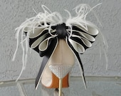 Bridal Party Wedding Black And Ivory Satin Ribbon Bow And Feather Shoe Clips Set Of Two