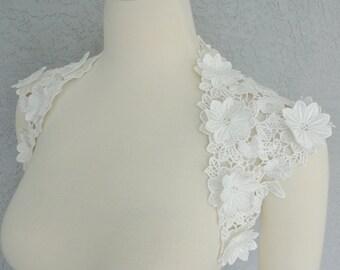 Beautiful Wedding Bridal Off White Flower Applique Lace Keyhole Back Bolero Shrug Jacket. Made to order.