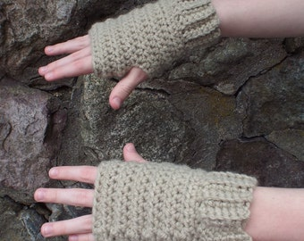 Oatmeal Beige Fingerless Gloves, Crochet Fingerless Mittens, Ladies Hand Warmers, Womens Wrist Warmers, Gift for Her