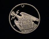 SPAIN - cut coin pendant - w/  Eagle - 1957