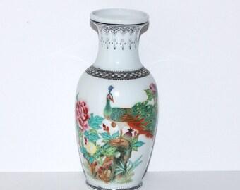 Vintage Chinese Hand Painted Enameled Peacock Porcelain Vase