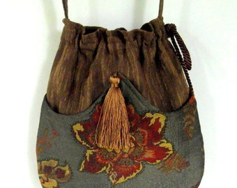 Brown Floral Tapestry Pocket Boho Bag  Drawstring Bag   Bohemian Bag  Crossbody Purse  Piperscrossing Bag