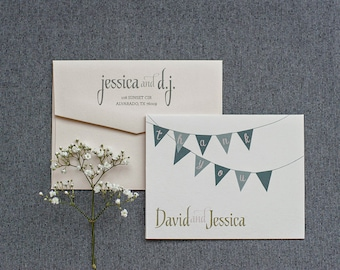 Charming, Rustic Blush Pink and Grey Bunting Flag Thank You Cards - Jessica and DJ