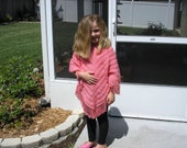 Knitted Poncho, Girls Large - Strawberry Pink