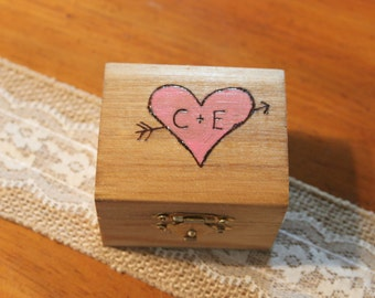 Proposal Box - Heart and Arrow -wedding ring box - engagement ring box - wedding gift - jewelry box - wooden ring box