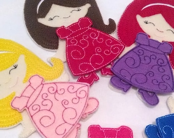 1 non paper doll with 1 outfit , felt paper doll, Quiet Game, felt gamel, travel toy, Birthday Favor, Felt Favor, Children's Toy #1508DOLL