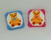 Dollhouse Miniature Hand Cross Stitched Teddy Bear Pillows - Two