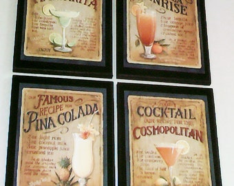 Tequila Wall Decor Plaques Margarita Pina Colada Cosmo Sunrise kitchen restaurant or bar pictures, 4 signs