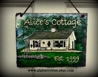 Custom Home Portrait  Hand Painted Decorative Slate Sign/Custom Home Acrylic Painted Slate Sign/ Home Portrait Slate Sign/ House Slate Sign