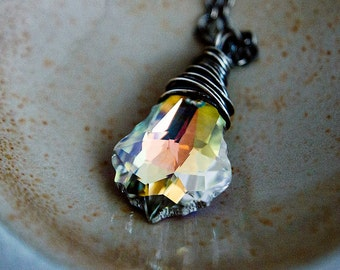 Crystal Necklace, Swarovski Crystal, Crystal Jewelry, Rainbow Crystal, Sterling Silver, Prism, PoleStar,