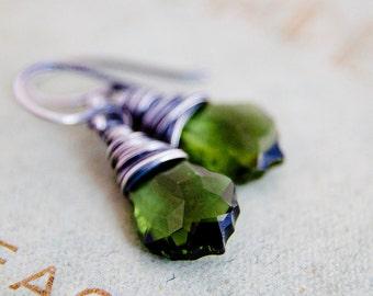 Crystal Earrings, Dangle Earrings, Wire Wrapped, Olive Crystal, Green Crystal, Swarovski Crystal, Sterling Silver, Drop Earrings, PoleStar