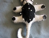 Flat Cat Felt Pin Cushion with Hook Black and White Cat