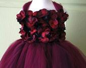 Flower girl dress Red and Black tutu dress, flower top, hydrangea top, toddler tutu dress