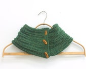 Forest Green Hand Knit Neck Warmer, Button Cowl Scarf, Warm Winter Scarf, Chunky Scarf