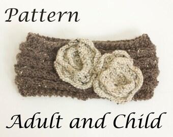 Flower Headband Knitting Pattern, Instant Download, Flower Ear Warmer Pattern, Adult, Child Knit Warmer