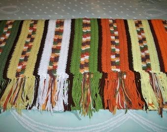 SALE! Vintage 1970s Crocheted Autumn Color Throw Afghan Blanket Bedspread Handmade
