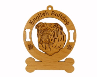 3131 English Bulldog Head Personalized Dog Ornament