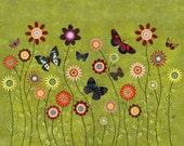 Bohemian Butterflies Collage Painting, Mixed Media Butterfly and Flower Collage Painting, 40x50 cm (16x20 Inch) Art Print