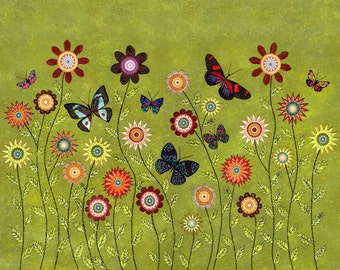 Bohemian Butterflies Collage Painting, Mixed Media Butterfly and Flower Collage Painting, 40x50 cm (16x20 Inch) Art Print