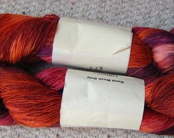Sock Yarn  4ply 400yds Rusty Gate hand dyed  wool/ nylon