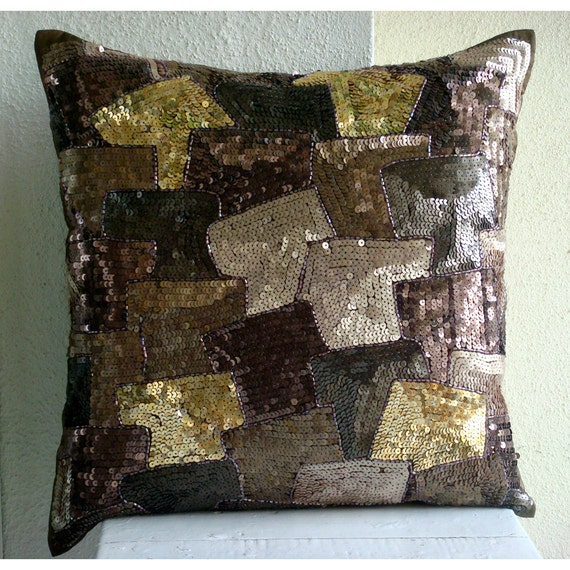 Decorative throw pillow covers 16x16 brown silk by - Throw pillows for brown sofa ...