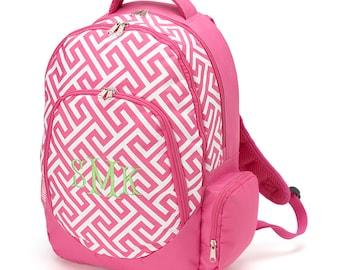 SALE-Pink Greek Key Backpack-Pink Geometric Backpack-includes Monogram-Chevron Bookbag-School Bag