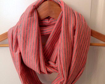 Coral and gray striped infinity scarf ready to ship