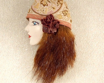 LADY Head FACE Porcelain-Look Resin Brooch Pin gypsy flapper girl fur hair boho - Omega