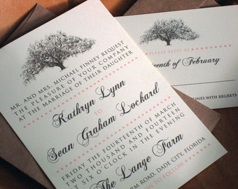 Rustic Oak Tree Wedding Invitations - Natural Ivory Paper with Brown Kraft Envelopes