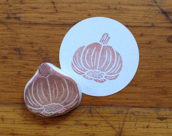 Garlic Rubber Stamp Hand Carved