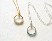 Aegir Necklace - diamond necklace, circle diamond necklace, gold diamond necklace, blue diamond necklace, white diamond, rough diamonds, N40