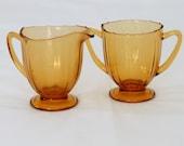 Fostoria Fairfax Creamer & Sugar Set, Amber Glass, vintage dinnerware