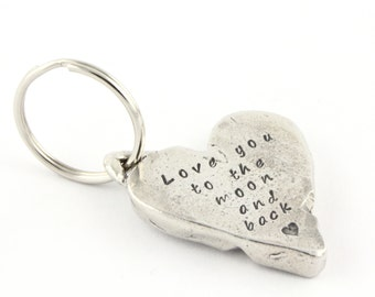 Mother's Day Gift For Mom - Personalized Love You to the Moon Heart Keychain - Double Sided Hand Stamped Key Chain - Key Ring - Keyring
