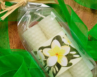 Plumeria Candles Hawaiian Wedding Favors White Beeswax Candles Frangipani Design Hawaii Party Favors Candle Pair Handmade in Hawaii