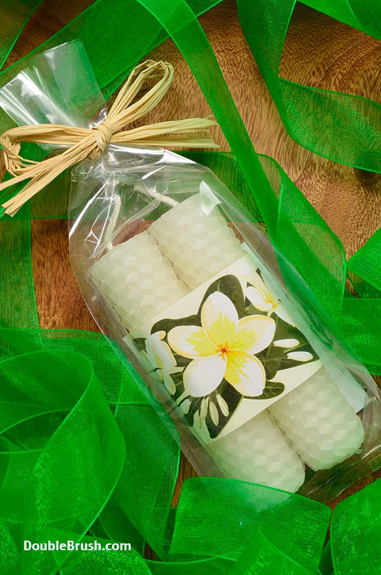 Plumeria Candles Hawaiian Wedding Favors White by doublebrush