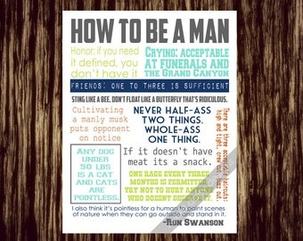 Parks and Rec Ron Swanson Quotes How to be a Man PRINTABLE, Ron Swanson Quotes, Printable Art, Parks and Rec Ron Swanson Funny Quotes
