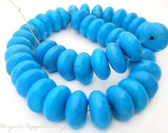 45 blue howlite gemstone discs - jewelry supplies sale