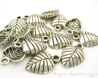 60 leaf charms, antique silver, one sided, beads and findings destash sale antique silver jewelry supplies