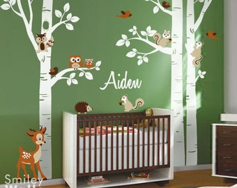 Birch Trees Wall Decal Forest Trees Wall Decal Forest Animals Wall Decal Owls Squirrels Bambi Nursery Wall Decal Baby Room Art Decor