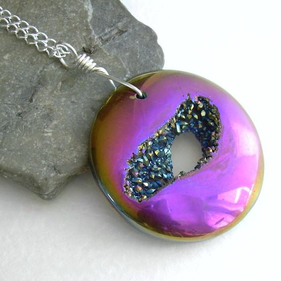 Metallic Pink Titanium Druzy Necklace, Rainbow Crystal Stone Jewelry