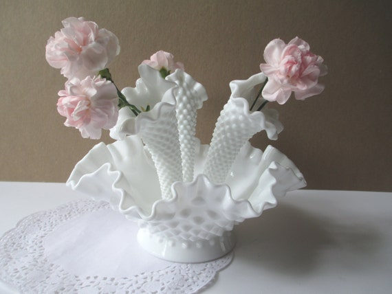 Vintage Fenton Milk Glass Hobnail Miniature Four Piece Epergne