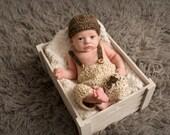 crochet newborn suspender pants and drivers cap - newborn boy photography prop - photography prop