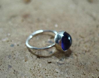 Hoop Earring Silver Gemstone SINGLE - Amtheyst Hoop Earring, Cartilage Hoop Earring, Forward Helix Earring, Gemstone Earring, Single Hoop
