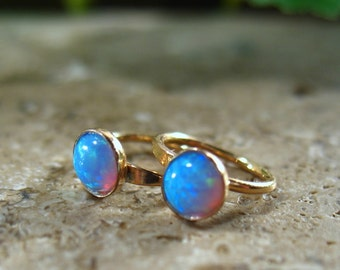 Hoop Earrings Gold Blue Fire Opal - Gemstone Hoops, Gemstone Earrings, Opal Earring, Fire Opal Earrings, Blue Opal Earrings, Tiny Hoops