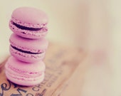 Pink Macaron Photo,  Macaron Photo, Macaroon Photo, Food Photography, French Macaron, Purple, Pink,  Laduree, Choose Your Size