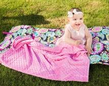 Nap mat for girls, preschool nap Mat, Girl Day Care Mat, Paisley Built in pink Minky Blanket & Pillow, Pink Green Teal, double minky blanket