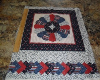 Cranston Pillow Panels x 2 identical in Red White and blue Calico print