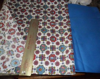 Vintage Twill Fabrics - Colonial print &  Solid deep Bright Blue