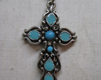 Cross Turquoise Blue Silver Necklace Vintage Pendant