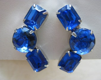 Blue Rhinestone Silver Earrings Clip Vintage